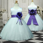 USM3D57 Purple White Childrens bridesmaid Dress 1,2,3,4,5,6,7,8,9,10,11,12,13Y