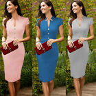 Womens Celeb Formal Business Cap Sleeves Midi Bodycon Pencil Evening Party Dress