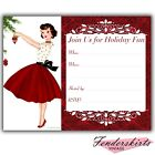 Vintage Retro Red Lady Christmas Party Invitations Customized Personalized