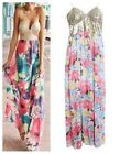 Fashion Women Beach boho floral sequin Maxi Long Sundress evening party dress LD