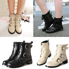 New Women Ankle Boots Flats Low Heel Buckle Zipper Warm Lined Combat Boot Black
