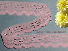 """15/30 Yards Pink Lace Trim 3/4"""" Floral Scalloped R05V Buy More-Ship No Charge"""