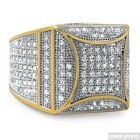 Gold Plated Hip Hop Fancy Square 360 Cubic Zirconia Mens CZ Micropave Ring