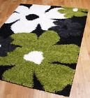Deep Soft pile Shaggy rug stain resistant non shedding Black Green