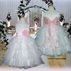 USM1D75 White/Pink Christmas Young Bridesmaid Flower Girls Dress Size 1 to 14