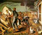 TORNADO OVER KANSAS FARM FAMILY CHILDREN DOG CAT SHELTER PAINTING BY CURRY REPRO