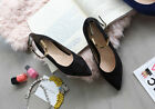 Women Fashion Casual metal buckle Ankle Strap Flat Low Heel Pointed Toe shoes