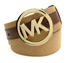 MICHAEL KORS Haircalf Logo Plaque With Leather Trim Belt - Luggage Tan $78
