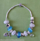 White Millefiori & Blue European Charm Bracelet with Crystal & Locket Charms