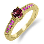 0.82 Ct Round Red Rhodolite Garnet Pink Sapphire 18K Yellow Gold Engagement Ring