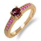0.82 Ct Round Red Rhodolite Garnet Pink Sapphire 14K Rose Gold Engagement Ring
