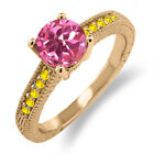 1.85 Ct Round Pink Mystic Topaz Yellow Sapphire 14K Rose Gold Engagement Ring