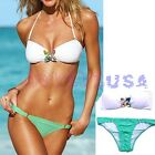 Women's Bikini Set Swimwear Push Up Padded Beach Bathing Suit,Green & White