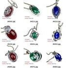 d420m73 Wpmen Flower Tibet Silver Czech Gemstone Bead Pendant Necklace Jewelry