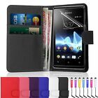 LEATHER WALLET BOOK FLIP SIDE OPENS CASE COVER FOR SONY XPERIA EXPERIA E1
