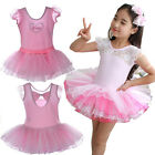 Girls Leotard Ballet Tutu Lace Bow Dancewear Party Dress 3-8Y Kids Skating Skirt