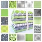 GREY & LIME GREEN 100% COTTON FABRIC by the metre