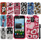 For ZTE Majesty Z796C Source N9511 BLING DIAMOND HARD Case Phone Cover + Pen