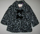 New Baby Girls Size 12M & 24M  Faux Fur Fall Winter Coats Jackets Gray Leopard