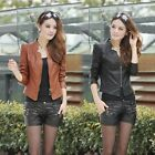 HOT Women  Casual Long Sleeve Suits Jacket Short Coat  Artificial Leather