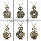 Retro Vintage Bronze Steampunk Quartz Necklace Pendant Chain Clock Pocket Watch