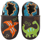 Momo Baby Boys Brown Dinosaurs and Fossils Soft Sole Leather Shoes