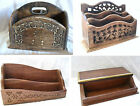 Hand Carved Wood DESK TIDY Letter Rack Office Accessories Desk Box Pen Box