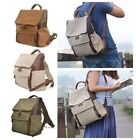 Men Women Canvas Leather Bag Retro Backpack Rucksack Satchel Shoulder School Bag