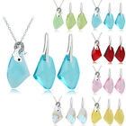 White Gold Plated Dolphin 6 Colors Crystal Earrings Pendant Necklace Set  17j0