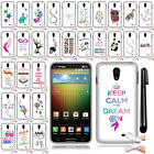 For LG Lucid 3 VS876 Art Design TPU SILICONE Case Phone Cover Accessory + Pen