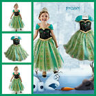 Green Disney Frozen Anna Costume Party Princess Girls Dresses Age 3.4.5.6.7.8.