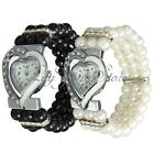 Women Shiny Heart Shape Metal Rhinestone Pearl Beads Bracelet Bangle Wrist Watch