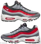 NIKE AIR MAX 95 NO SEW MENs M RUNNING LEATHER MESH WOLF GREY WHITE RED