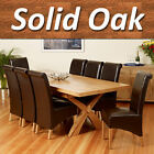 Solid Oak Extending Dining Table Set Cross Legs 6 8 chairs Room Furniture 200cm