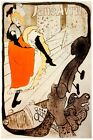 7414.Jane Avril.Woman in orange dress putting on socks.POSTER.art wall decor