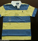 NWT Ralph Lauren Boys Short Sleeved Blue Striped Rugby Shirt 2t 3t 4t NEW 3a