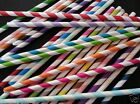 25 X STRIPED PAPER DRINKING STRAWS RETRO VINTAGE RAINBOW WEDDING PARTY STRIPE