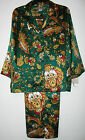 Natori Mongolia Green Satin Pajamas Cropped Length Womens Size M Sleepwer Sets