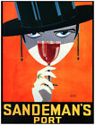 7692.Sandeman's port.woman with hat holding wine glass.POSTER.art wall decor