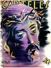 7804.Carteles.Christ with crown of thorns.purple shades.POSTER.art wall decor