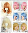 hot   New Medium FIVE color Mix Curly Cosplay BOB Wavy Wig +free gift
