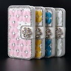 For Apple iPhone 4 4S 3D Bling Crystal Diamonds Leather Wallet Flip Case Cover