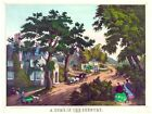 8087.A home in the country.horse drawn carriage in village.POSTER.art wall decor