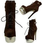 Women's Color Block Metatallic Platform Lace Up Stiletto Ankle Booties Brown