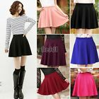 New Women Flared Skirt Candy Color Stretch Waist Plain Mini Pleated dress BF00