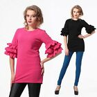 Funky Ruffles Tiered Short Sleeves Tunic Blouse Top