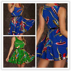 Sexy Womens Long Dress Feather Print With Belt Club Wear Lingerie D128 Size S M