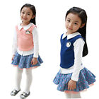 2Pcs Girl Kids Outfit School Student Top Shirt+Dot Skirt Tutu Dress 2-7Y Clothes