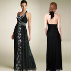 NEW Sz Embellished  lace Halter Formal Gowm Maxi Evening Black Dress