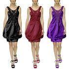 Satin V Neck Embellished Crochet Short Party Cocktail Evening Dress Hot Summer